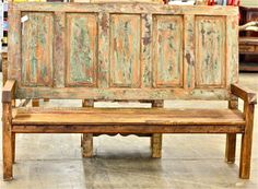 Front entry-Bench made from old door and reclaimed wood Old Door Projects, Furniture Projects, Home Projects, Cool Furniture, Furniture Design, Antique Doors, Old Doors, Salvaged Doors, Headboard Benches