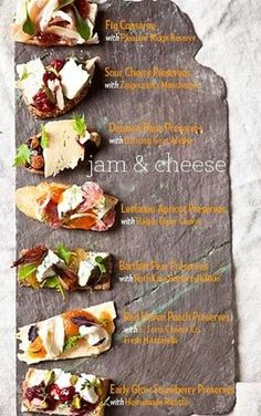 Jam & Cheese pairings from American Spoon. must remember for our next Wine & Cheese party Cheese Platter Board, Cheese Platters, Cheese Boards, Cheese Board Display, Tapas, Think Food, Love Food, Wine Recipes, Cooking Recipes