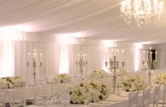 White up-lighting colours look great for marquee Weddings. It really brings the room to life.