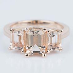 A beautiful Custom Morganite Gemstone Engagement Ring in Rose Gold!