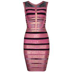 Posh Girl Avalia Foil Print Bandage Dress (1 470 SEK) ❤ liked on Polyvore featuring dresses, vestido, multi, bandage dress, zipper back dress et posh girl