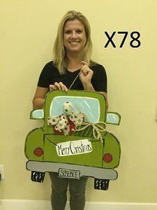 X78 - Christmas Truck Door Hanger - Christmas Presents Door Hanger - Christmas Door Hanger