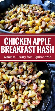 Chicken Apple Breakfast Hash is easy to make very filling gluten free & dairy free! Chicken Apple Breakfast Hash is easy to make very filling gluten free & dairy free! Apple Breakfast, Breakfast Hash, Healthy Breakfast Recipes, Paleo Recipes, Whole Food Recipes, Camping Breakfast, Chicken For Breakfast, Whole30 Breakfast Ideas, Whole 30 Easy Recipes