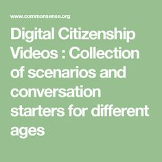 Digital Citizenship Videos : Collection of scenarios and conversation starters for different ages Cyber Safety, Internet Safety, Digital Citizenship, Conversation Starters, Curriculum, Student, Teaching, Writing, Education