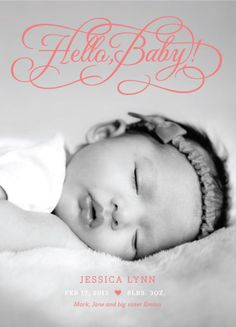 """""""Hello Baby"""" birth announcement, designed by The Occasional Hello for MyPublisher's 2013 exclusive baby card and stationery collection. Baby Announcement Cards, Birth Announcements, Baby Pictures, Baby Photos, Diy Bureau, Personalised Photo Cards, Family Maternity Photos, Newborn Shoot, Baby Birth"""
