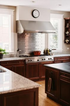 One way to really get some wow factor in your kitchen is to splurge a bit on backsplash magic. You don't even have to go all-over with your eye-catching tile: sometimes you get the biggest bang for your buck by choosing a flashy look and concentrating it in one focal area, like over the stove. Look for stainless steel tile, a funky mosaic or metallic tiles to really catch the eye of kitchen visitors.