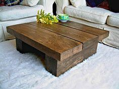 SOLID DARK OAK PINE WOOD COFFEE TABLE CHUNKY RUSTIC PLANK MODERN BEAM