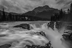 athabaska falls rocky mountain night b&w - One of my favourite falls in the rocky mountains near Jasper. This black and white image of Althabaska Falls was taken near midnight. Our Planet Earth, Canadian Rockies, White Image, Photos Of The Week, Rocky Mountains, Landscape Photography, Travel Photography, Waterfall, Beautiful Places