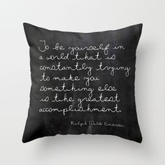 Velveteen Pillow - The Greatest Accomplishment - Quote Pillow - Typography - Black and White - Ralph Waldo Emerson - Chalkboard Pillow