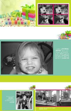"""Let's lighten things up a bit with our brightly colorful digital scrapbook layout, """"Party On"""". Smiles, birthday candles, wrapping paper...everything seems brighter with this fun layout!"""