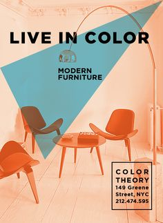 "Color TheoryWild Poster Series for Modern Furniture Store, Silkscreen 18""x24"", 4 layers printingBranding posters for grand opening of Color Theory, a hi-end furniture store located in SoHo, NY. Color Theory offers their products to color your life brighter and playful. Each poster shows each scene of rooms. As you walk along with the poster series, you see the sequence of everyday life at home.One of them was printed by silkscreen. Textured paper was used for soft graphic effect."