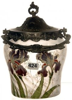 "7 3/4"" MT JOYE STYLE ART GLASS BISCUIT JAR : Lot 424"