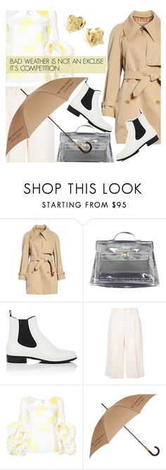 """""""RAINY DAYS"""" by pinkdream235 ❤ liked on Polyvore featuring Burberry, Hermès, Barneys New York, Gucci, Rosie Assoulin, hermes, gucci, barneys and rainydayoutfit"""