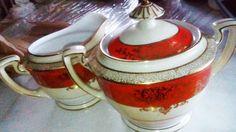 Noritake Cream & Sugar Bowl Vintage Orange/White by Sandpalace
