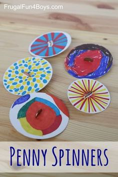 Penny Spinners - Tops that Kids Can Make.  Such a great craft that kids of all ages will enjoy.