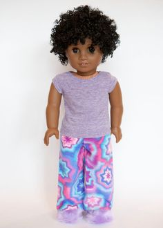 American Girl doll pajamas with slippers - pink/purple/blue by EverydayDollwear on Etsy