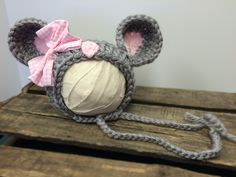 Grey Mouse hat from the Barnyard Collection from 224 Locust - a Brides to Babies Boutique at www.224Locust.etsy.com