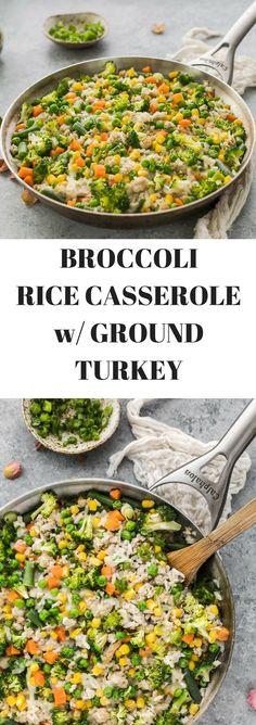 Broccoli Rice Casserole with Organic Ground Turkey - Posh Journal - https://poshjournal.com/broccoli-rice-casserole-organic-ground-turkey