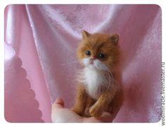Купить Котенок из шерсти ЛАКИ - рыжий, котенок из шерсти, валяная игрушка, валяный котенок, рыжик