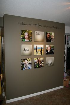 Great Photo Wall -- it's a nice touch to stencil a quote or definition on a photo wall, and I also love the way some of the photos are word images.