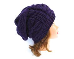 Slouchy Purple Hat - Cable Knit Beanie - Women's Cloche - 1920s Cloche Hats - Slouchy Cloche - Wool Blend Hat - Knit Accessories by BettyMarieJones on Etsy