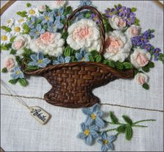 Basket of Roses - Hand embroidery tutorial step by step -embroidery ideas projects hand embroidery designs hand embroidery designs flowers Modern Embroidery KIT Pastel Wildflowers Floral Embroidery Hand Embroidery Tutorial, Embroidery Flowers Pattern, Modern Embroidery, Hand Embroidery Designs, Floral Embroidery, Flower Patterns, Embroidery Stitches, Embroidery Patterns, Embroidered Roses