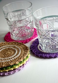 Make these pretty spring coasters with just one pack of Lion Brand Bonbons! Free crochet pattern by Hooked UK!