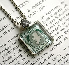 Irish vintage postage stamp necklace - Map of Ireland. Celebrate St. Patrick's Day in style; by CrowBiz. Other Irish styles available at www.crowbiz.etsy.com
