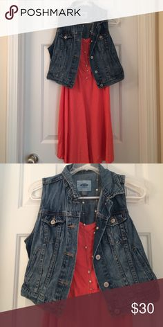 Jean vest Looks great over cami dresses and is a great way to spice up any outfit! Runs a little big Old Navy Jackets & Coats Vests
