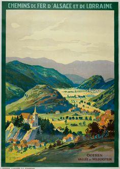 intage Travel Poster - Oderen - Vallée de Wildentsein.