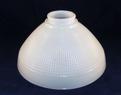 VINTAGE10 inch Corning White Waffle Milk Glass Torchiere Lamp Diffuser Shade | eBay