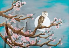 Peach Blossom with owl from Emma Hack's 'Birds of a Feather' collection