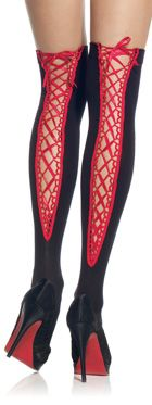 Leg Avenue Black and Red Lace Up Thigh Hi's ❦