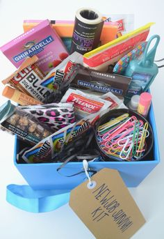 new job survival kit - cubicle survivor kit - going away gift - coworker gift - gift box | The Adorned Life