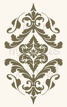 Lovely Wall Stencils Patterns Templates Ideas Wall Hanging & stencil Stencil For The Stairs Wall Stencil Patterns, Damask Stencil, Stencil Designs, Damask Wall, Motif Arabesque, Decoupage, Marquetry, Grafik Design, Flourish
