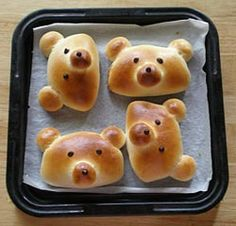 Bear buns!  A great idea using regular crescent roll dough and your choice of fillings!  I made ham and cheese. Bear buns yesterday!