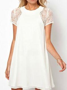 Lace Short Sleeve Split Chiffon Dress
