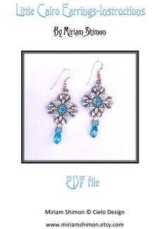 Little Cairo Earrings Beaded earring tutorial PDF por MiriamShimon
