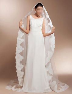 One Tier Cathedral Wedding Veils With Lace Applique Edge