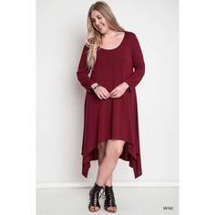 Wine High/Low Knit Dress