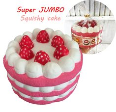 Super Jumbo very slow rising scented Strawberry Triple Layered Cake squishy