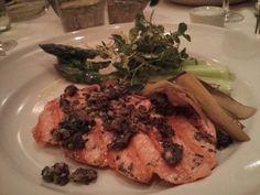 Chez Panisse- salmon with wild mushrooms, leek, and asparagus