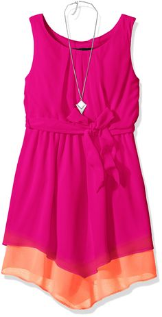 1dd3a9f8eb6 Amy Byer Big Girls Sleeveless Colorblock Dress with V Hem Berry 8   Details  can be found by clicking on the image. Kids World · Casual