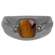 Men's Tiger Eye Diamond Accent Ring In Black Rhodium Plated White Gold Gemologica.com offers a unique and simple selection of handmade fashion and fine jewelry for men, woman and children to make a statement. We offer earrings, bracelets, necklaces, pendants, rings and accessories with gemstones, diamonds and birthstones available in Sterling Silver, 10K, 14K and 18K yellow, rose and white gold, titanium and silver metal. Shop Gemologica jewellery now for cool cute design ideas