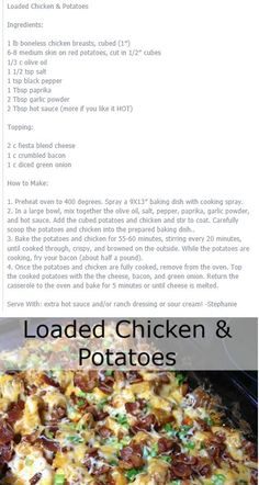 Loaded Chicken & Potatoes preferred one Quick Recipes, Clean Recipes, My Recipes, Chicken Recipes, Dinner Recipes, Cooking Recipes, Favorite Recipes, Chicken Meals, Recipies