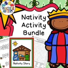 Christmas Nativity Activities  This download is a bundle of all different work activities linked to Nativity only. It includes;  * Nativity Flashcards (color or b+w) * Simplified Nativity Story (color or b+w) * Nativity Color by Instruction * Mazes (color or b+w) * Word Search - 2 difficulty levels (color or b+w) * Jigsaws - 2 difficulty levels (color or b+w) * Color by Number * Word Puzzles * Fine Motor Skills (color or b+w) * Spelling Boards with word prompt and picture (color or b+w)…