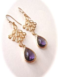 Amethyst and Gold earrings ~ Peacock earrings ~ Purple and gold ~ Gold filled ~ Wedding earrings ~ Bridesmaids jewelry ~ Birthday, gift