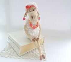 FREE SHIPPING Toy Mrs. Lamb Sheep Cute stuffed door ColoredYarn, $59.00