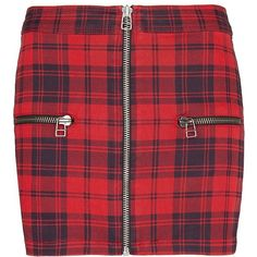 MANGO Zippers plaid miniskirt found on Polyvore