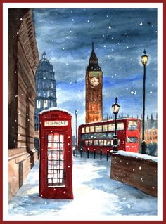 London-Snow - Home Page Watercolor Scenery, Watercolor Landscape, Watercolor Paintings, London Snow, London Art, London Drawing, Winter Drawings, London Painting, Painting Snow